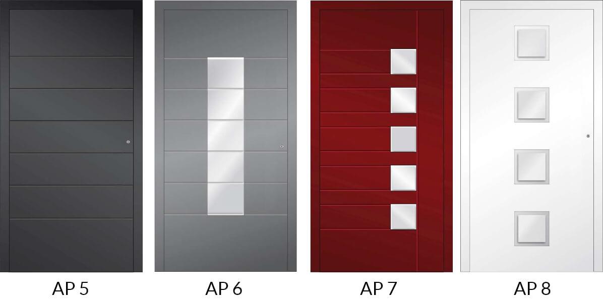 Auswahl 2 an Hauseingangstüren aus Aluminium