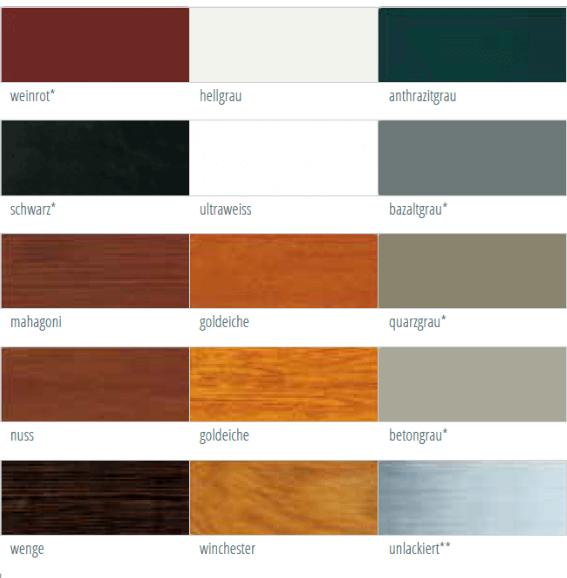 Farbmöglichkeiten für Unterputzrollladen