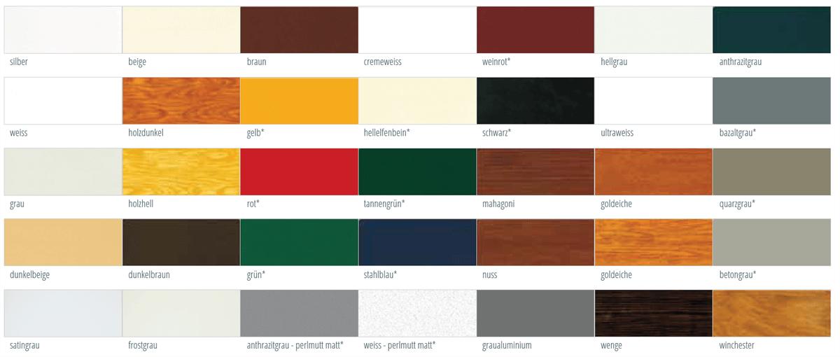 Farbmöglichkeiten der Profile für Aufsatzrollladen